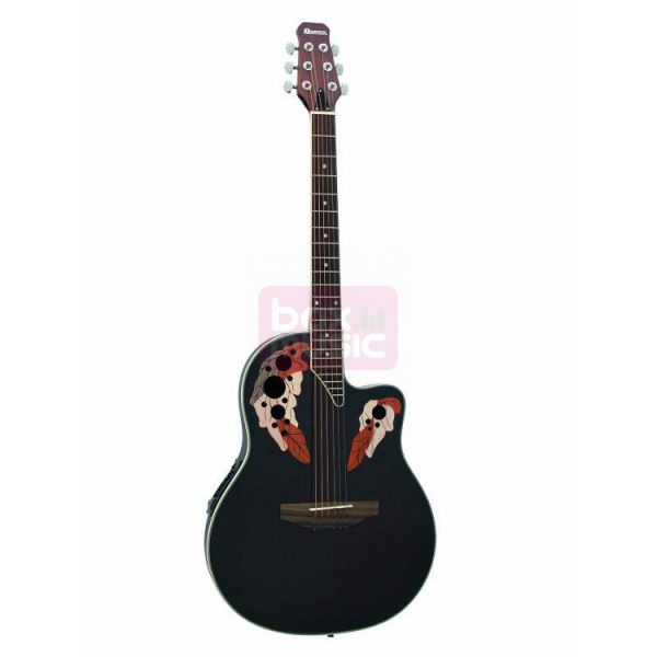 Dimavery OV-500 elektrisch-akoestische gitaar zwart gevlamd