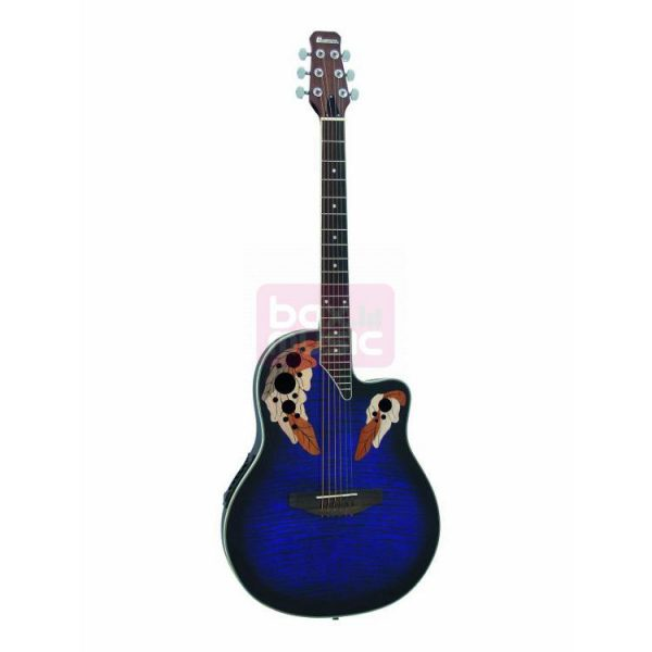 Dimavery OV-500 roundback semi-akoestische gitaar gevlamd blauw