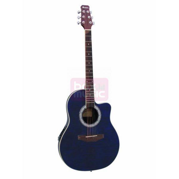 Dimavery RB-300 elektrisch-akoestische gitaar blauw gevlamd