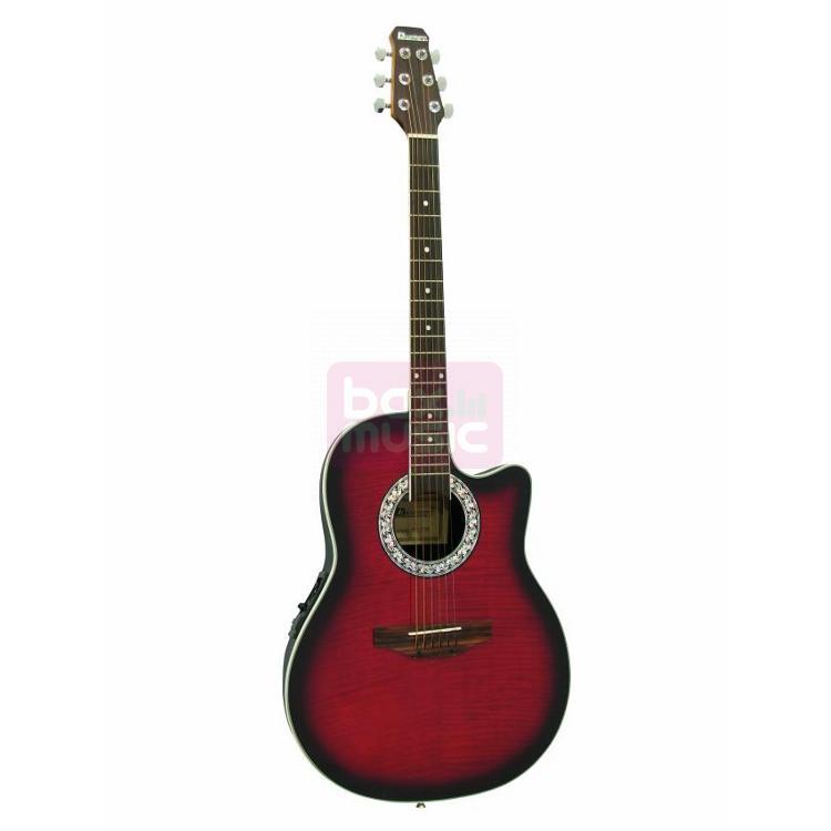 Dimavery RB-300 elektrisch-akoestische gitaar rood gevlamd