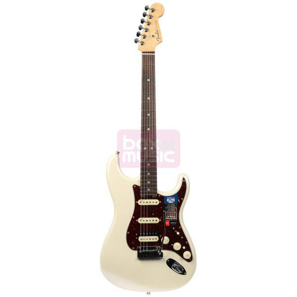 Fender American Elite Strat HSS Shawbucker Olympic Pearl RW