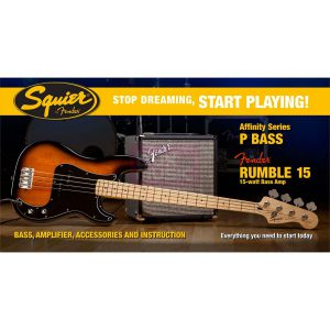 Squier Affinity P Bass Set Brown Sunburst met Rumble 15 amp