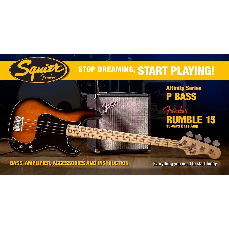 Squier Affinity P Bass Set Brown Sunburst met Rumble 15 amp