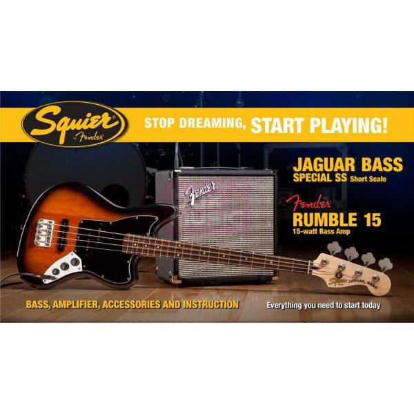 Squier Jaguar Bass Special SS Set BSB met Rumble 15 amp
